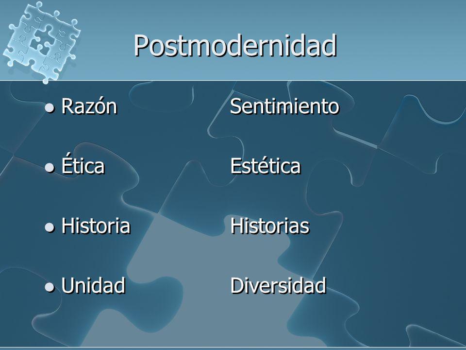 Postmodernidad Razón Sentimiento Ética Estética Historia Historias