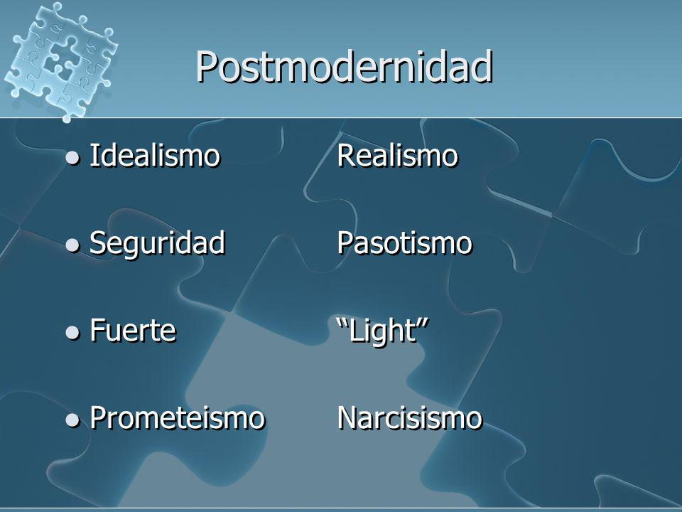 Postmodernidad Idealismo Realismo Seguridad Pasotismo Fuerte Light