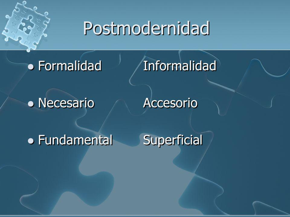 Postmodernidad Formalidad Informalidad Necesario Accesorio