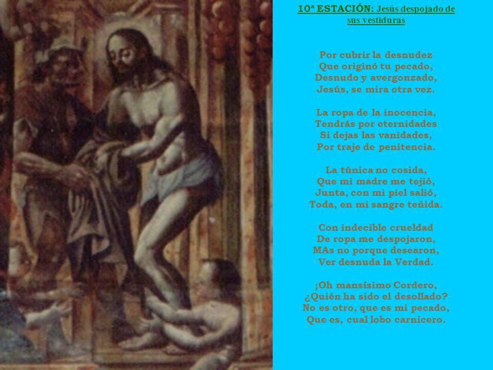 10ª ESTACIÓN: Jesús despojado de sus vestiduras Por cubrir la desnudez