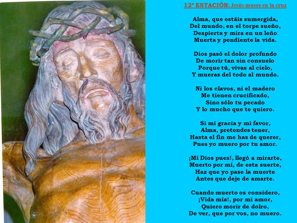 12ª ESTACIÓN: Jesús muere en la cruz Alma, que estáis sumergida,