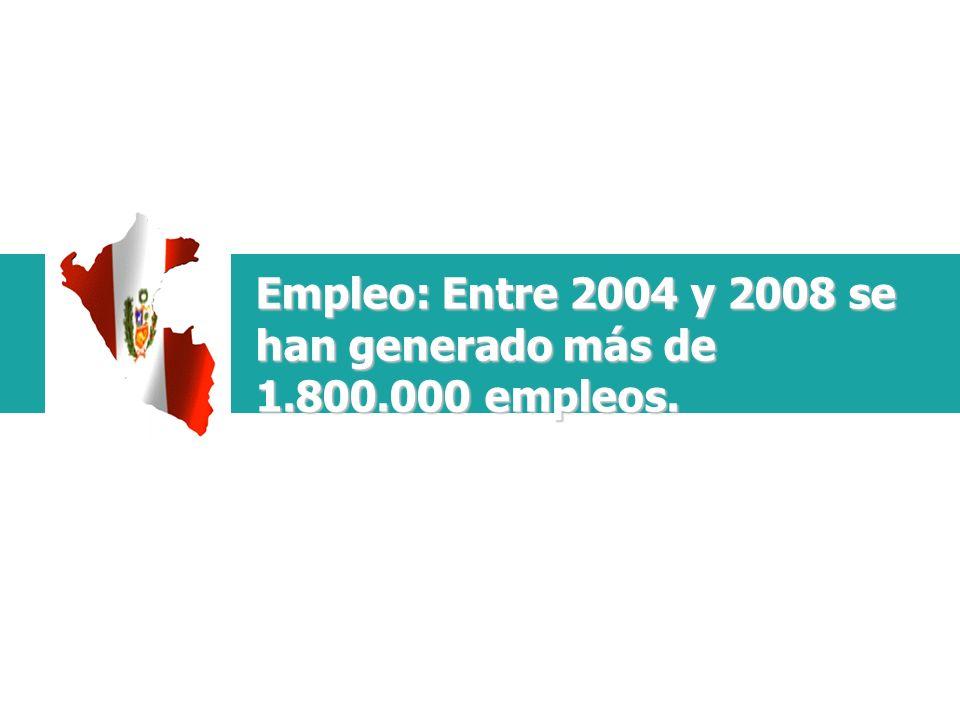 Empleo: Entre 2004 y 2008 se han generado más de 1.800.000 empleos.