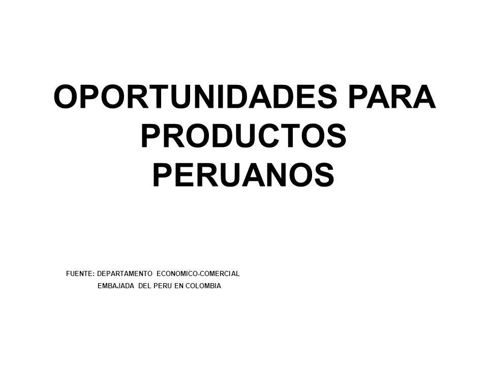OPORTUNIDADES PARA PRODUCTOS PERUANOS