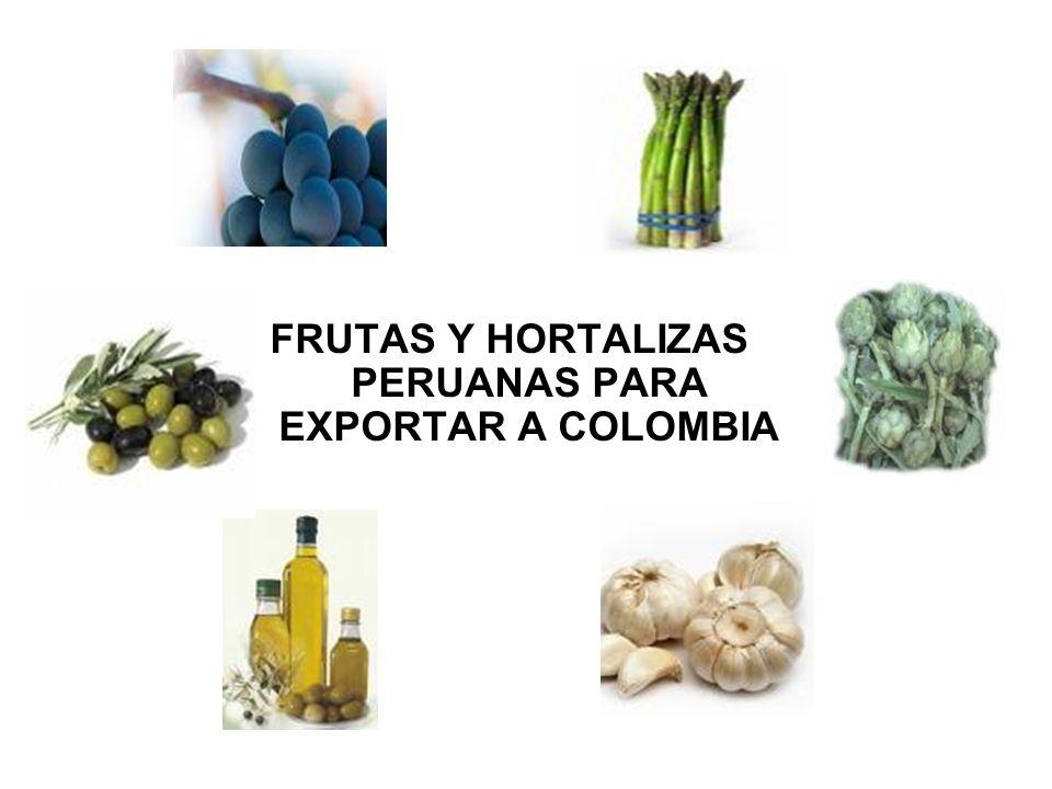 FRUTAS Y HORTALIZAS PERUANAS PARA EXPORTAR A COLOMBIA