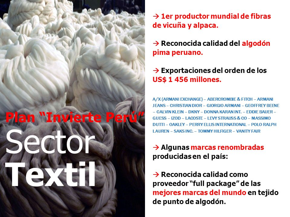 Sector Textil Plan Invierte Perú