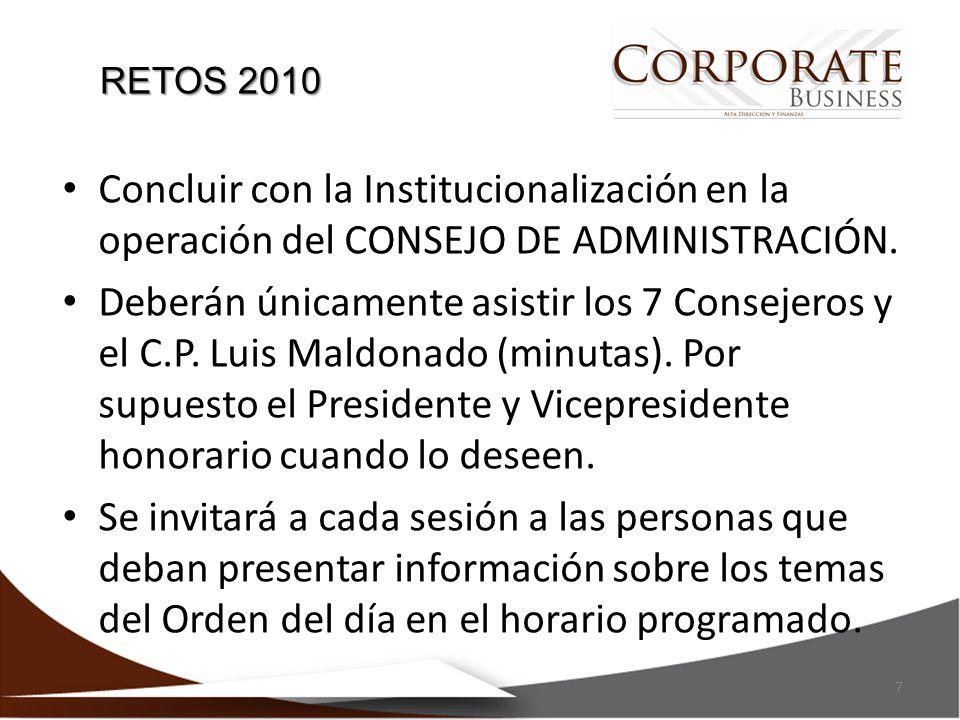 RETOS 2010 Concluir con la Institucionalización en la operación del CONSEJO DE ADMINISTRACIÓN.