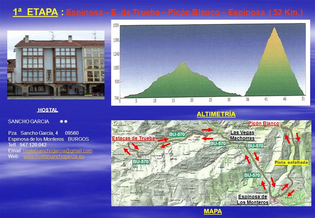 1ª ETAPA : Espinosa – E. de Trueba – Picón Blanco – Espinosa ( 52 Km.)