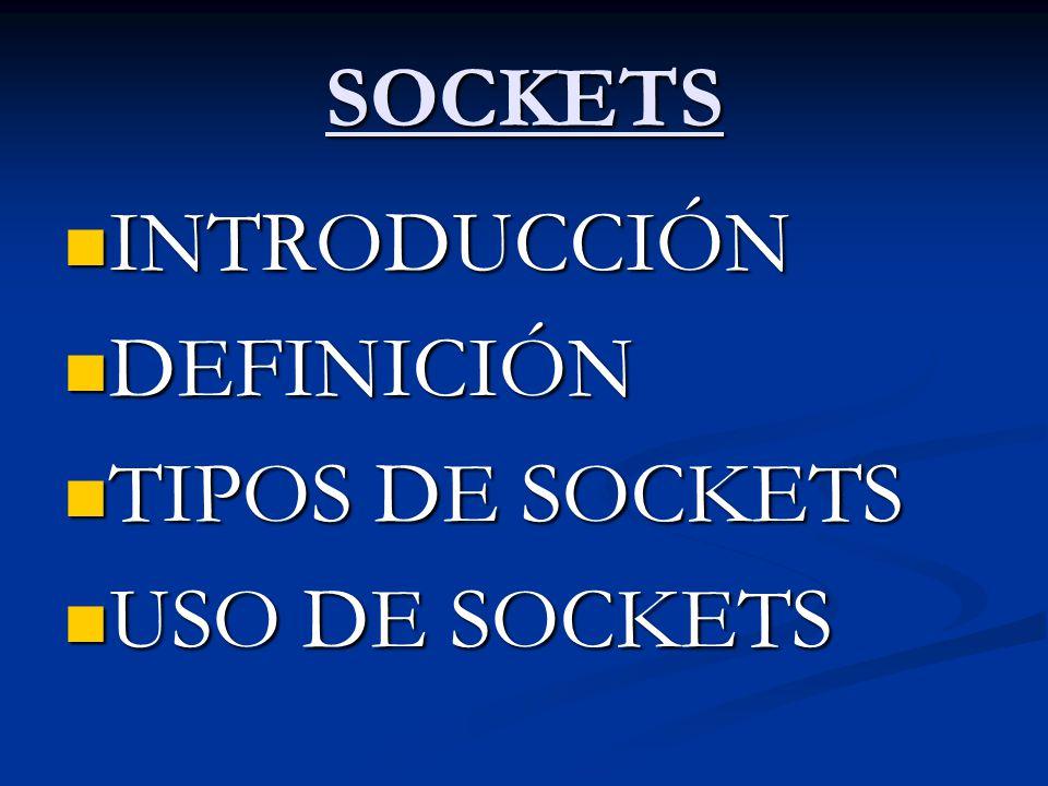 SOCKETS INTRODUCCIÓN DEFINICIÓN TIPOS DE SOCKETS USO DE SOCKETS