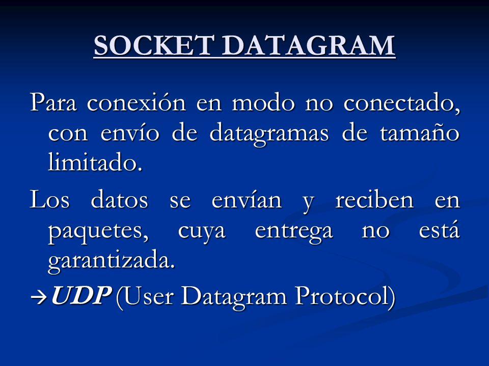 SOCKET DATAGRAM Para conexión en modo no conectado, con envío de datagramas de tamaño limitado.