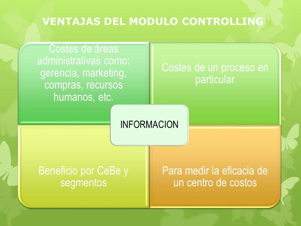 VENTAJAS DEL MODULO CONTROLLING