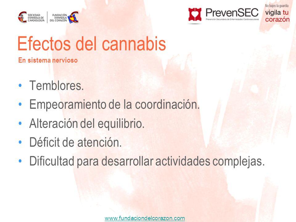 Efectos del cannabis Temblores. Empeoramiento de la coordinación.