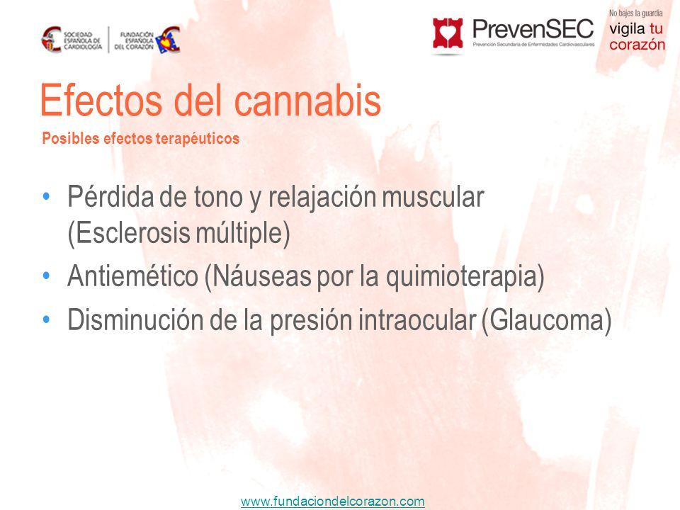 Efectos del cannabis Posibles efectos terapéuticos. Pérdida de tono y relajación muscular (Esclerosis múltiple)