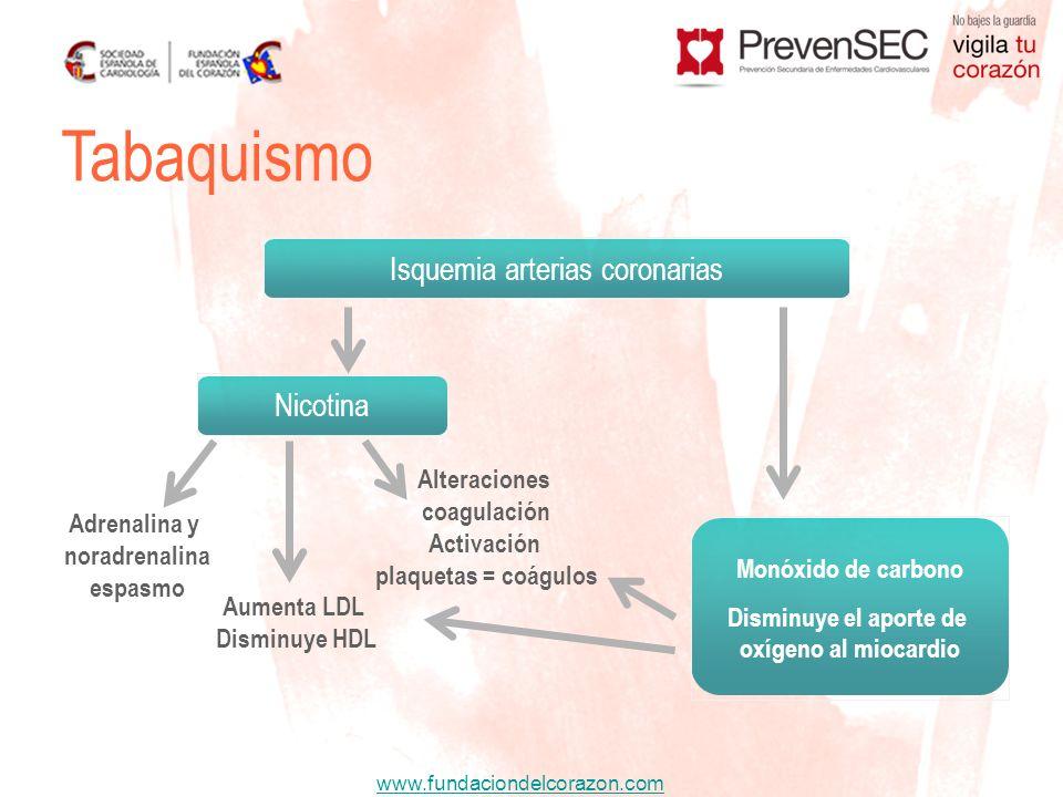Tabaquismo Isquemia arterias coronarias Nicotina