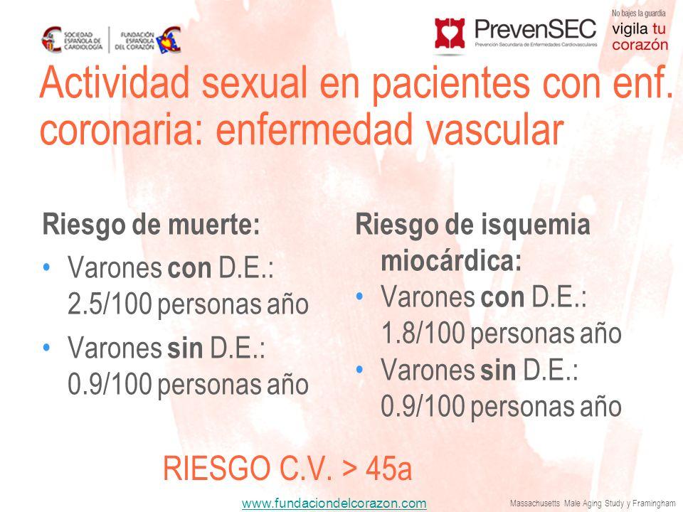 Actividad sexual en pacientes con enf. coronaria: enfermedad vascular