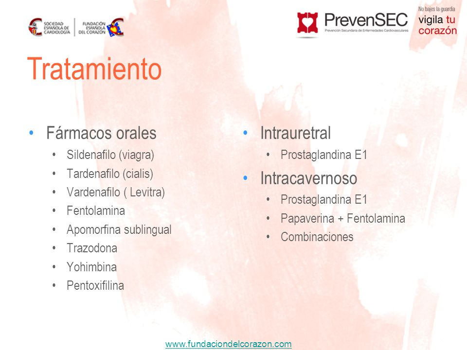 Tratamiento Fármacos orales Intrauretral Intracavernoso