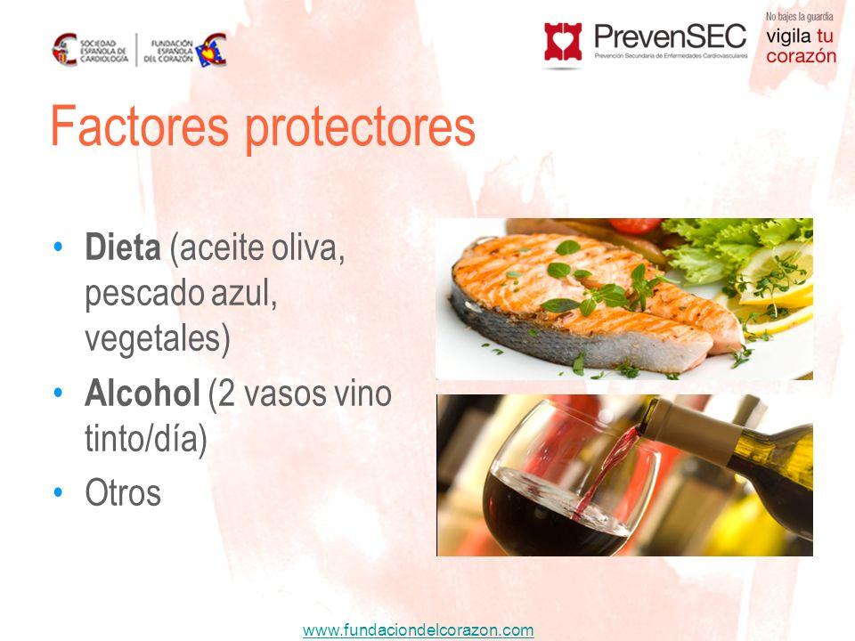 Factores protectores Dieta (aceite oliva, pescado azul, vegetales)