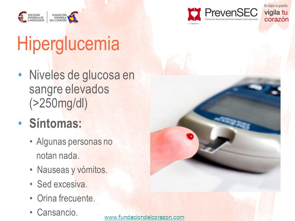 Hiperglucemia Niveles de glucosa en sangre elevados (>250mg/dl)