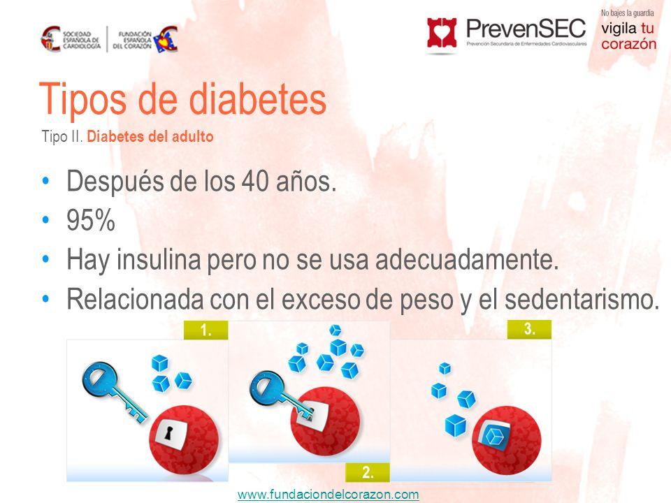 Tipos de diabetes Después de los 40 años. 95%