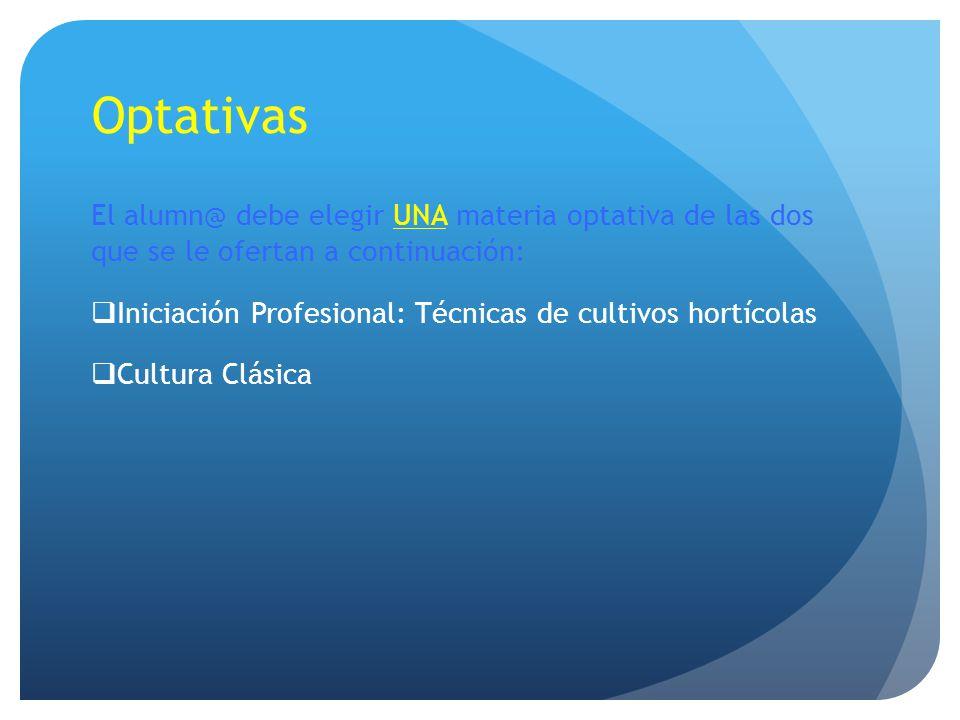 Optativas El alumn@ debe elegir UNA materia optativa de las dos que se le ofertan a continuación: