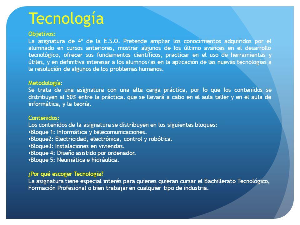 Tecnología Objetivos: