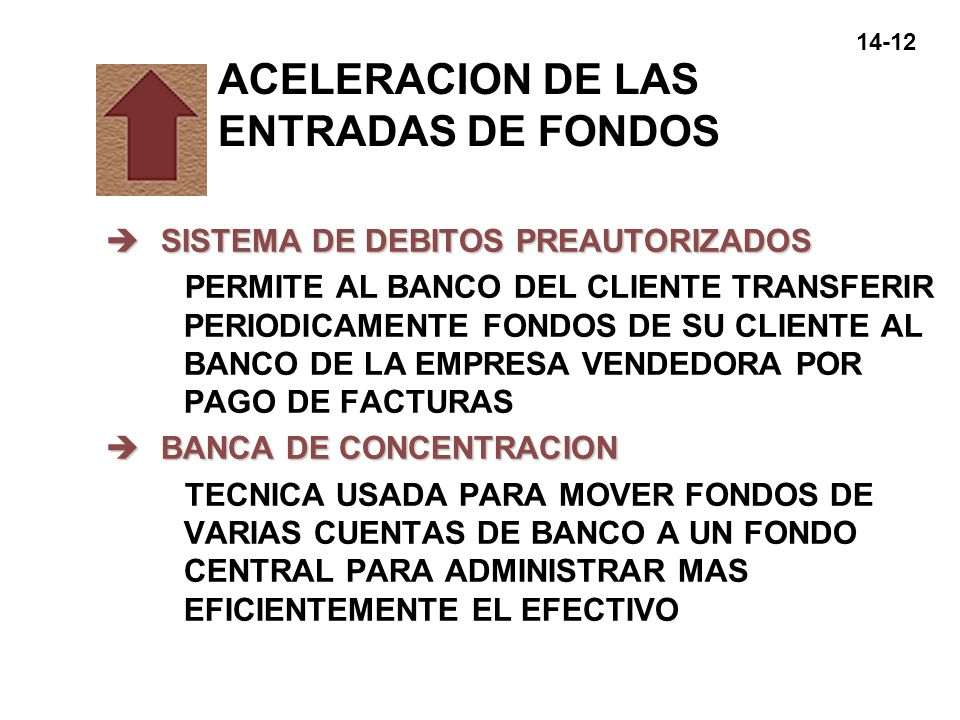 ACELERACION DE LAS ENTRADAS DE FONDOS