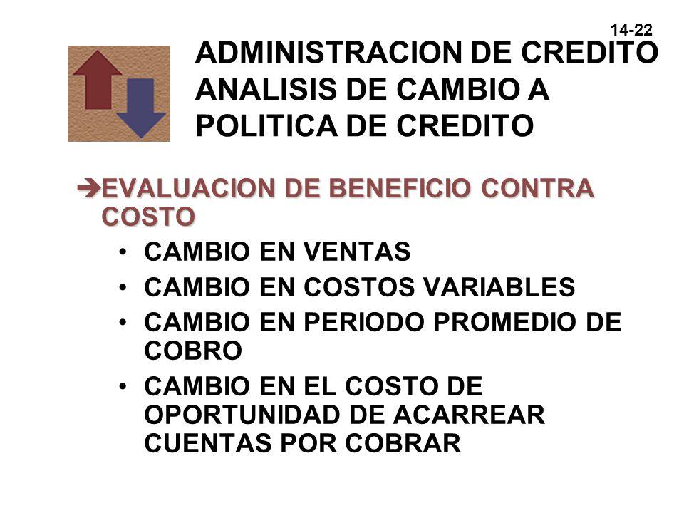 ADMINISTRACION DE CREDITO ANALISIS DE CAMBIO A POLITICA DE CREDITO