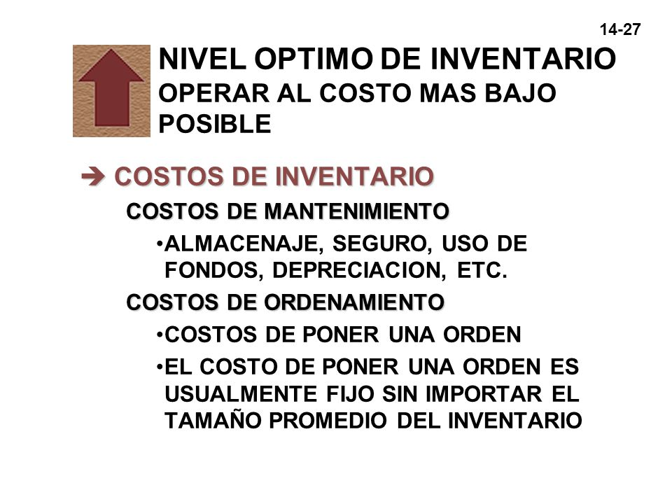 NIVEL OPTIMO DE INVENTARIO OPERAR AL COSTO MAS BAJO POSIBLE