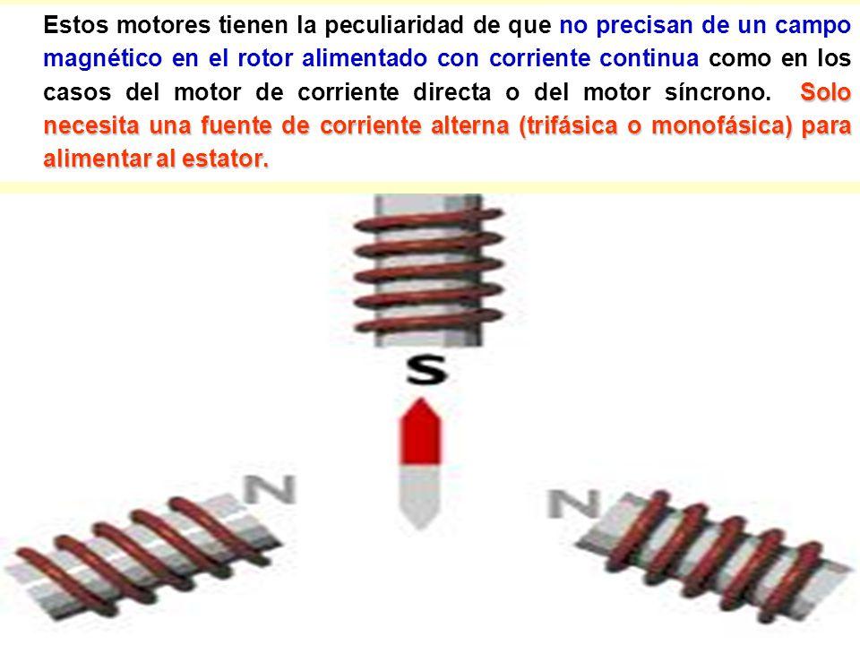 Estos motores tienen la peculiaridad de que no precisan de un campo magnético en el rotor alimentado con corriente continua como en los casos del motor de corriente directa o del motor síncrono.