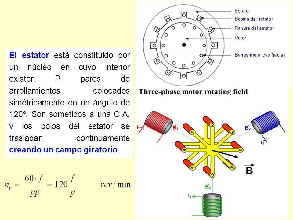 El estator está constituido por un núcleo en cuyo interior existen P pares de arrollamientos colocados simétricamente en un ángulo de 120º.