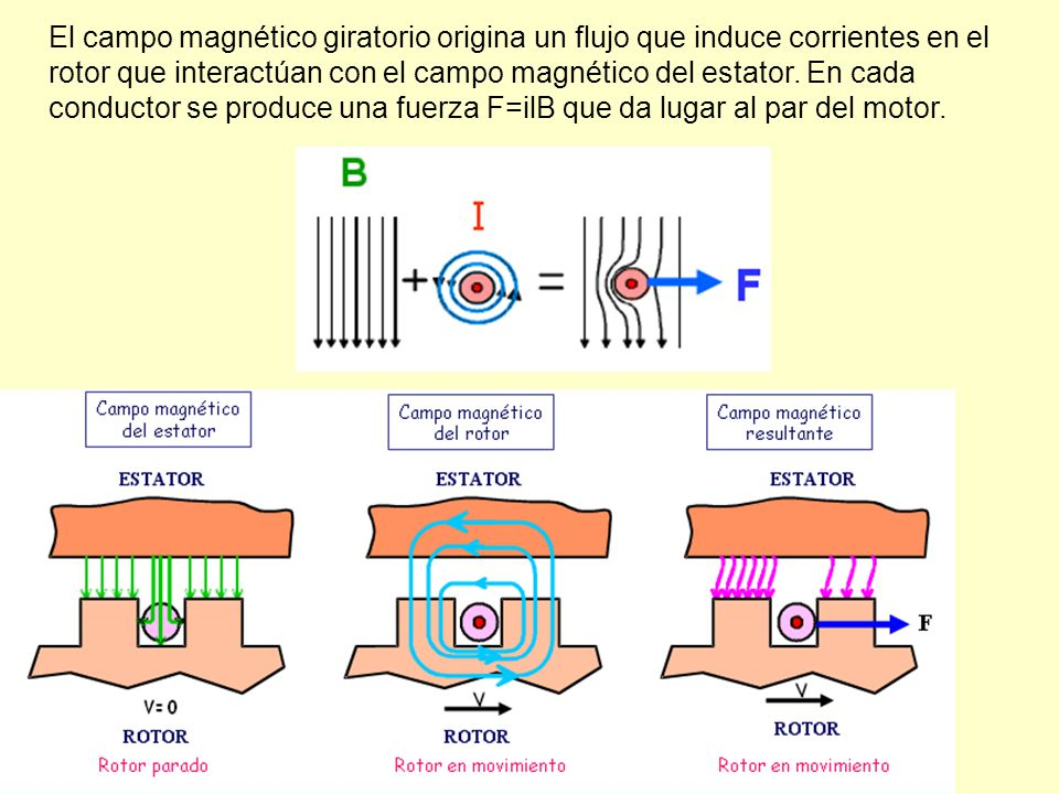 El campo magnético giratorio origina un flujo que induce corrientes en el rotor que interactúan con el campo magnético del estator.