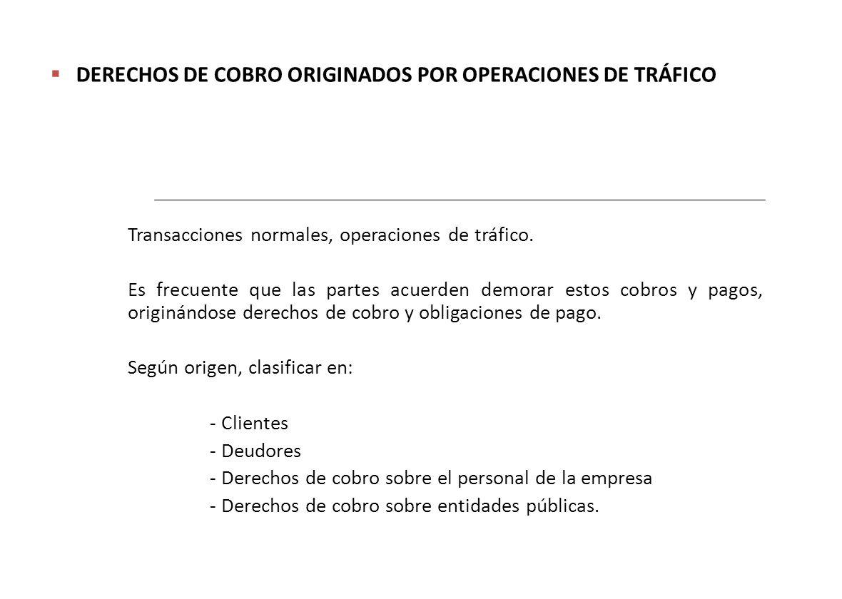 DERECHOS DE COBRO ORIGINADOS POR OPERACIONES DE TRÁFICO