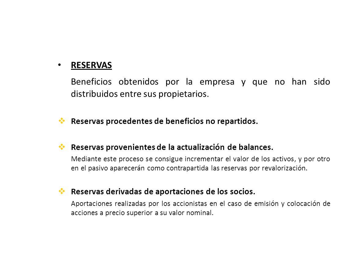 RESERVAS Beneficios obtenidos por la empresa y que no han sido distribuidos entre sus propietarios.
