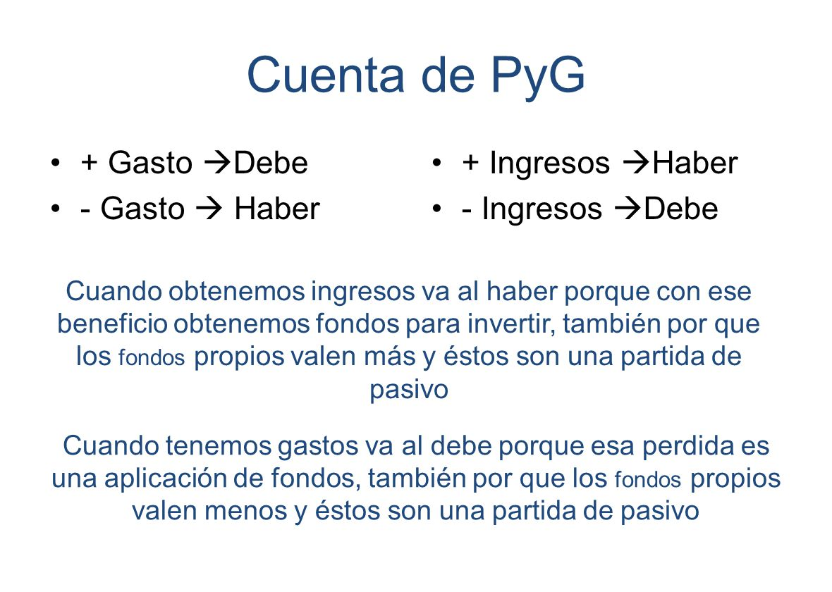 Cuenta de PyG + Gasto Debe - Gasto  Haber + Ingresos Haber