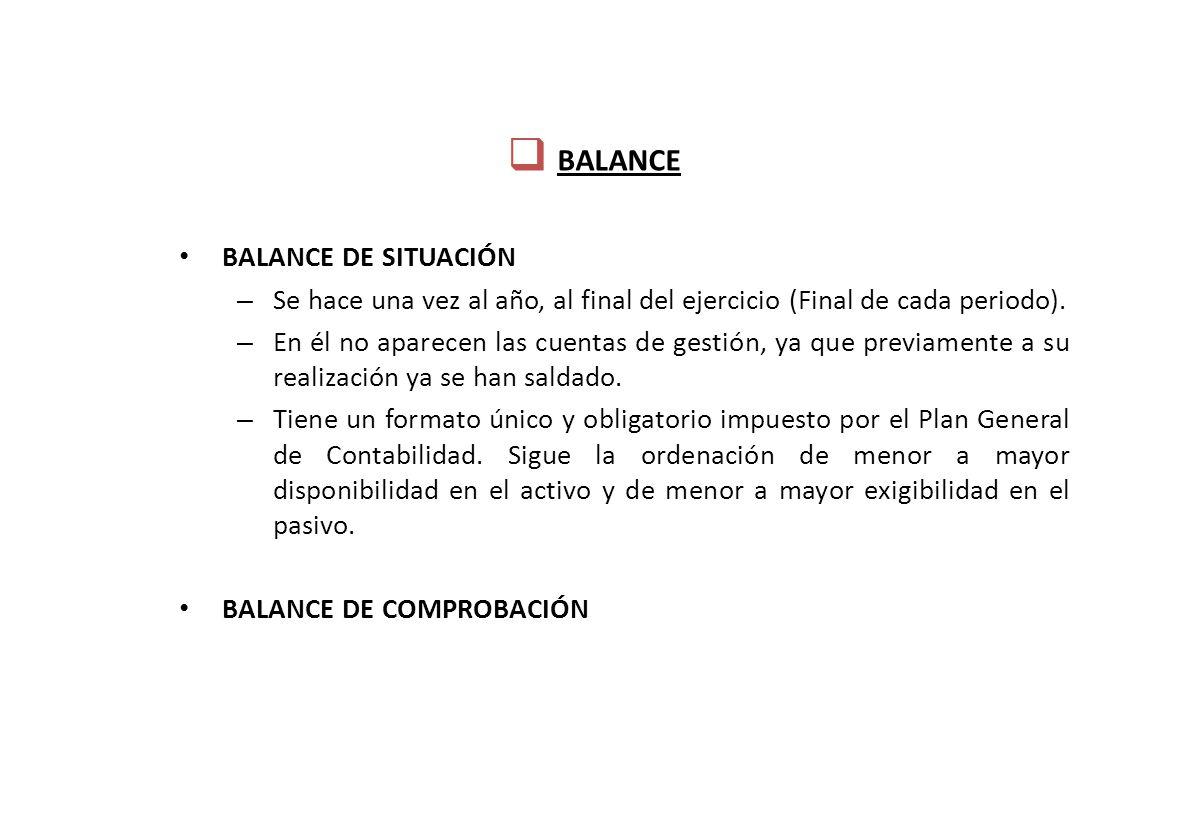 BALANCE BALANCE DE SITUACIÓN