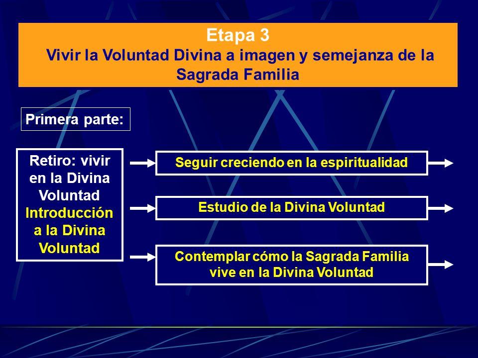 Etapa 3 Vivir la Voluntad Divina a imagen y semejanza de la Sagrada Familia. Primera parte: Retiro: vivir en la Divina Voluntad.
