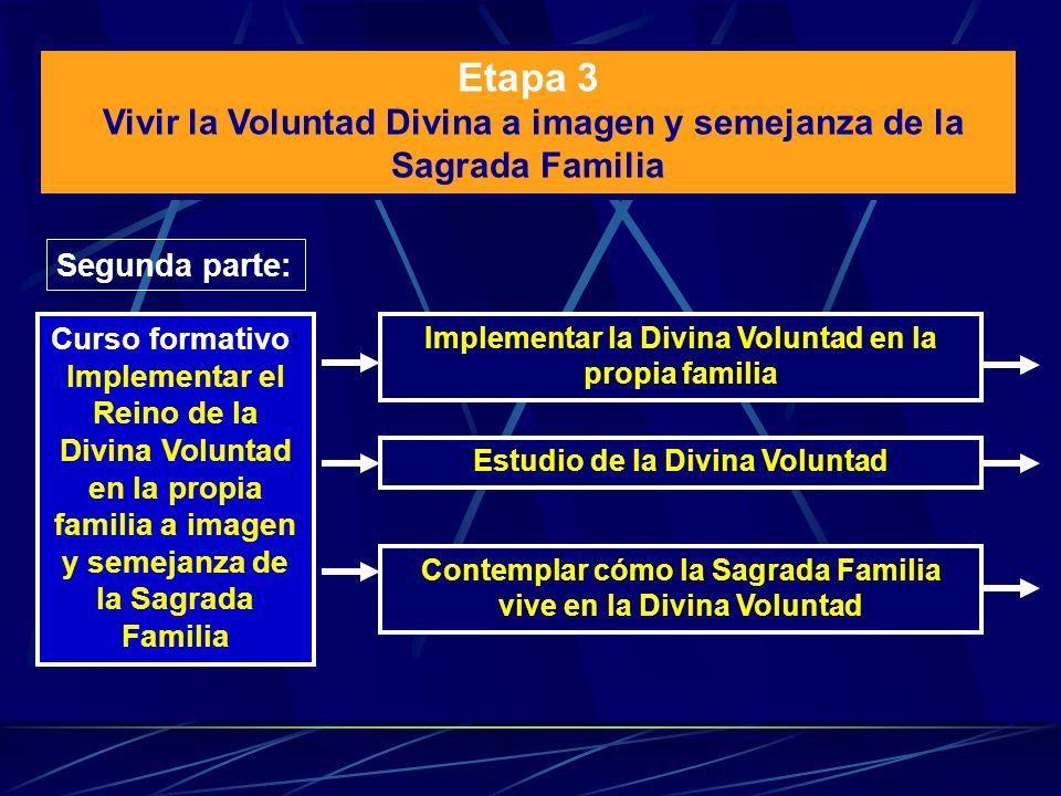 Etapa 3 Vivir la Voluntad Divina a imagen y semejanza de la Sagrada Familia. Segunda parte: