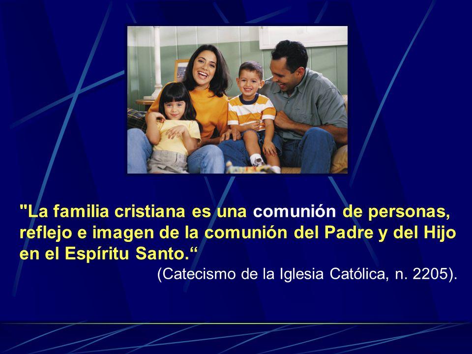 La familia cristiana es una comunión de personas, reflejo e imagen de la comunión del Padre y del Hijo en el Espíritu Santo.