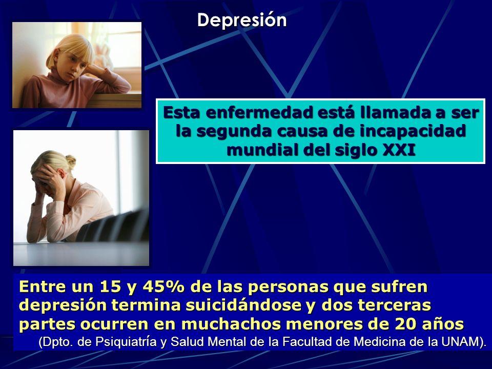 Depresión Esta enfermedad está llamada a ser la segunda causa de incapacidad mundial del siglo XXI.