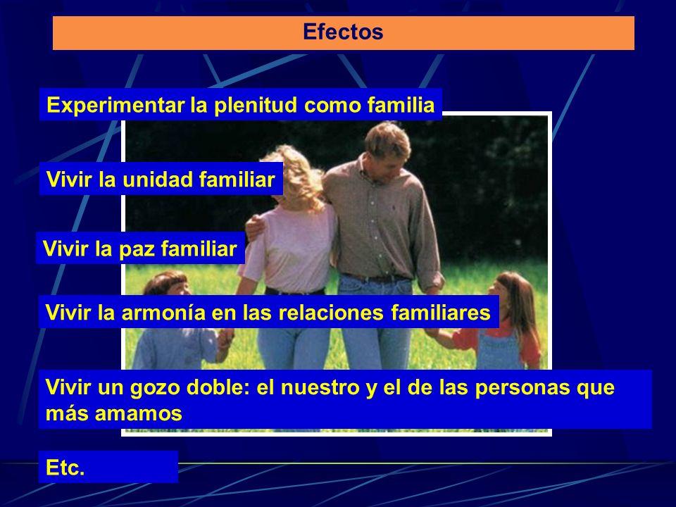 Efectos Experimentar la plenitud como familia Vivir la unidad familiar