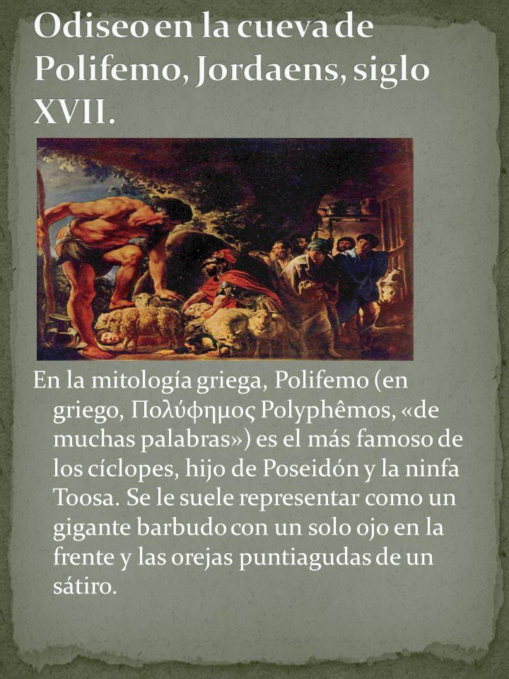 Odiseo en la cueva de Polifemo, Jordaens, siglo XVII.