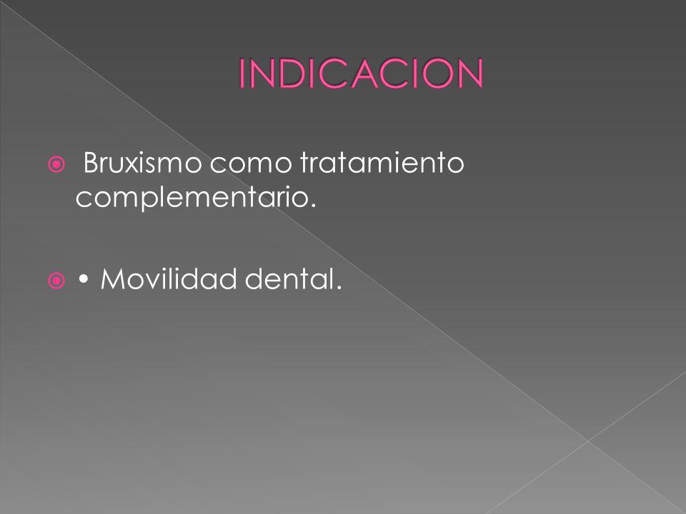INDICACION Bruxismo como tratamiento complementario.