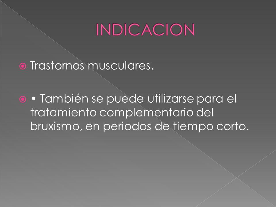 INDICACION Trastornos musculares.