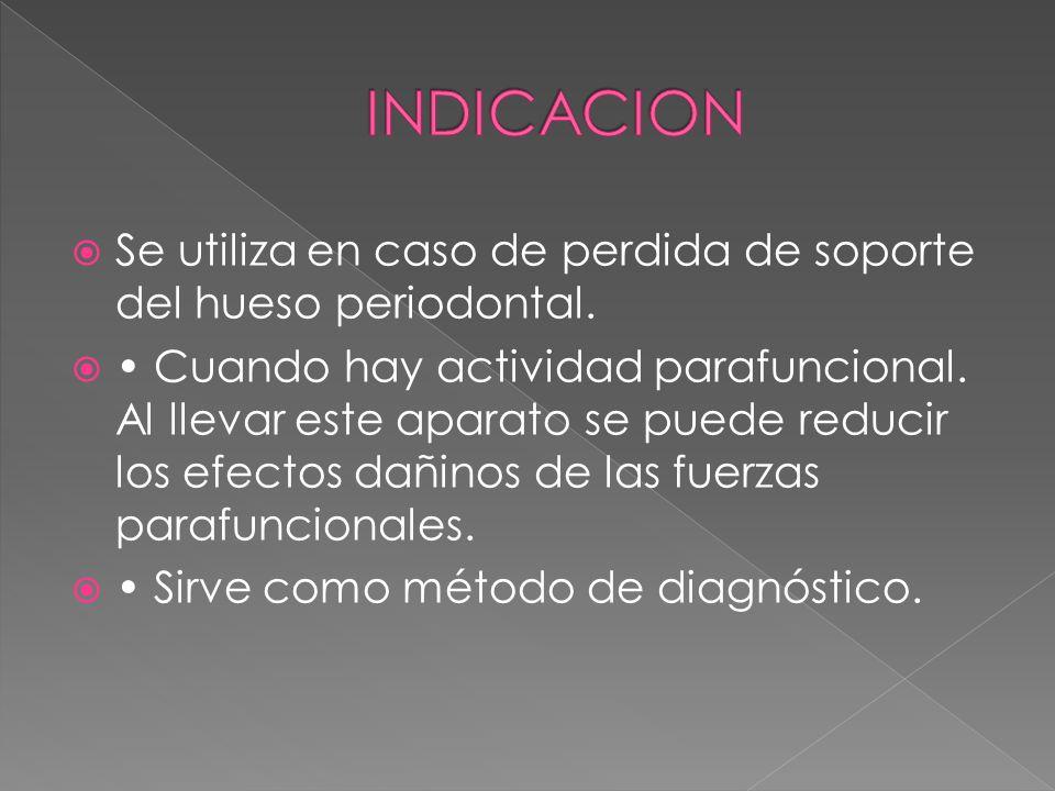 INDICACION Se utiliza en caso de perdida de soporte del hueso periodontal.