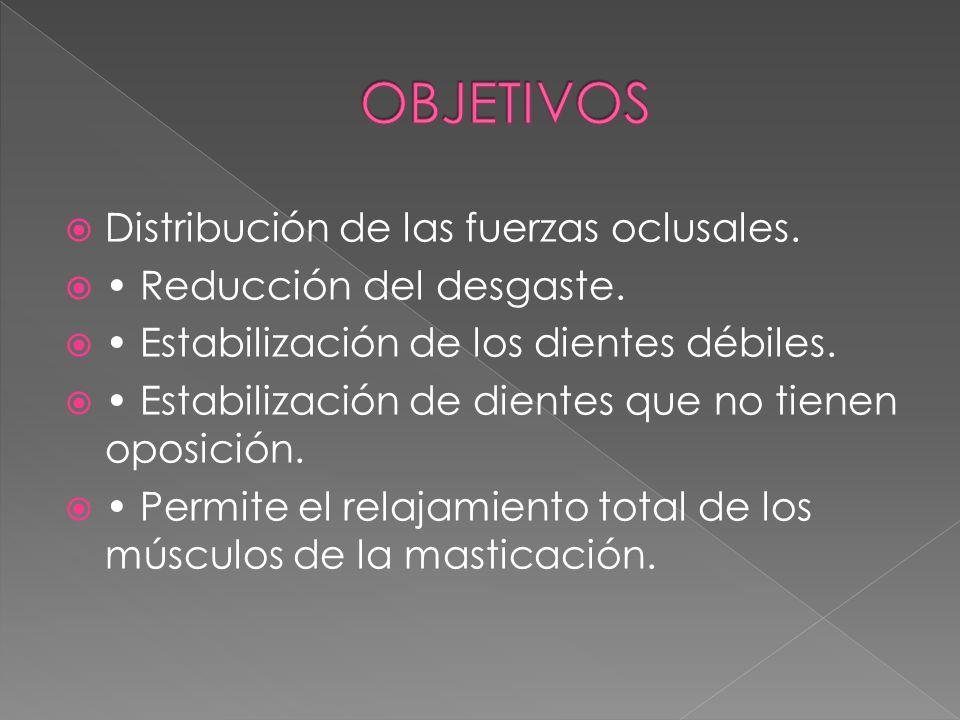 OBJETIVOS Distribución de las fuerzas oclusales.