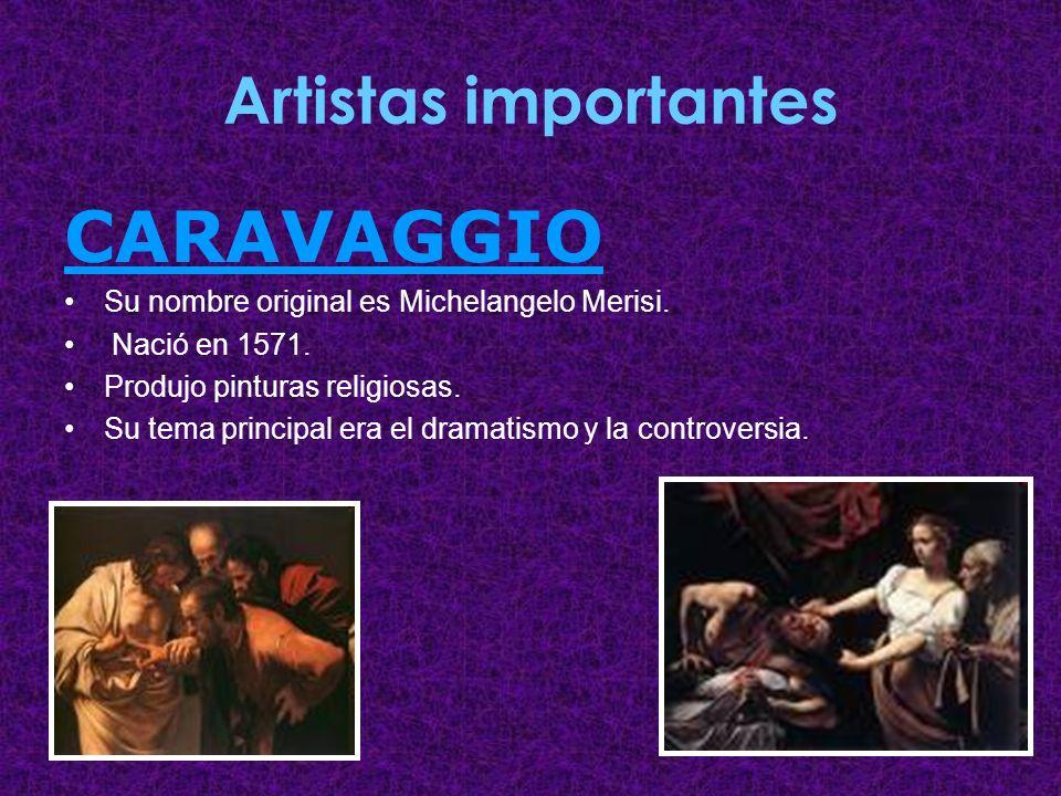 CARAVAGGIO Artistas importantes