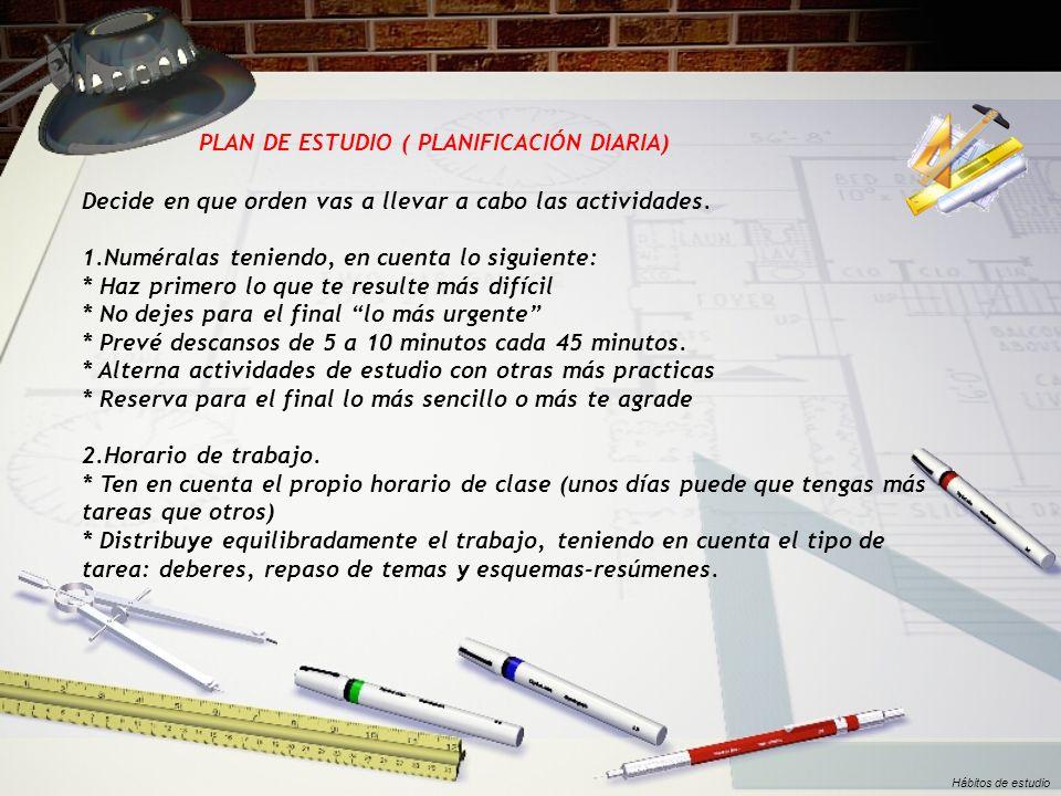 PLAN DE ESTUDIO ( PLANIFICACIÓN DIARIA)