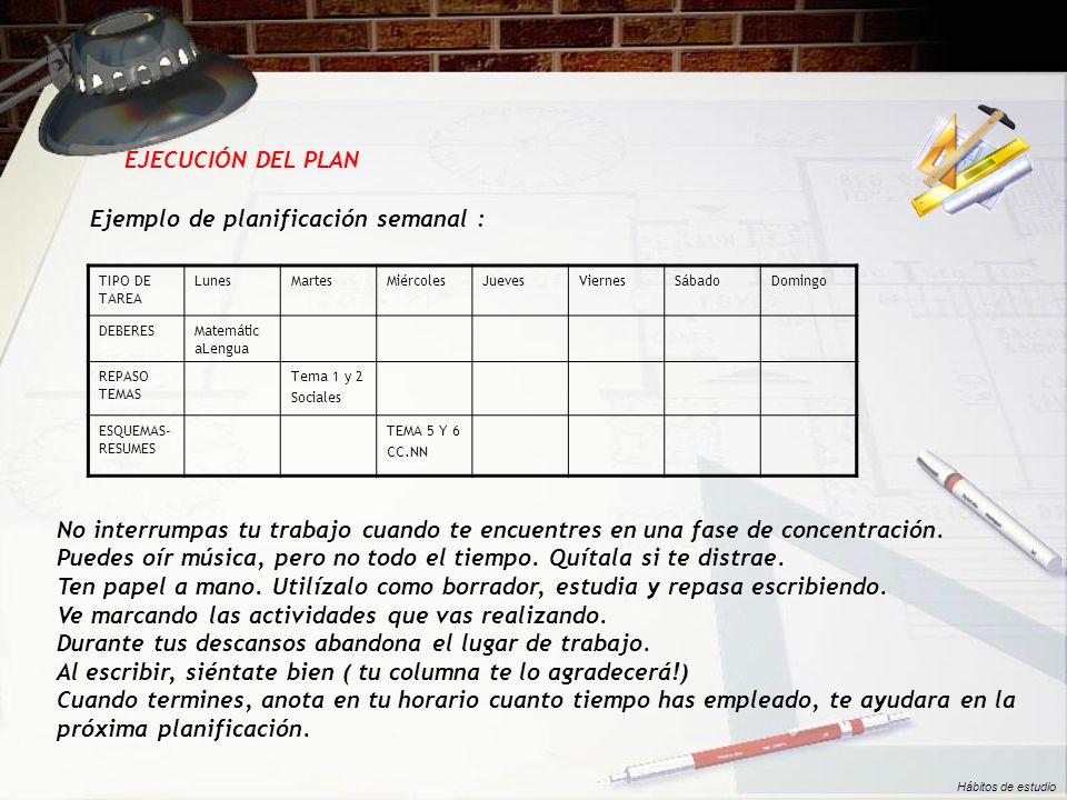 Ejemplo de planificación semanal :