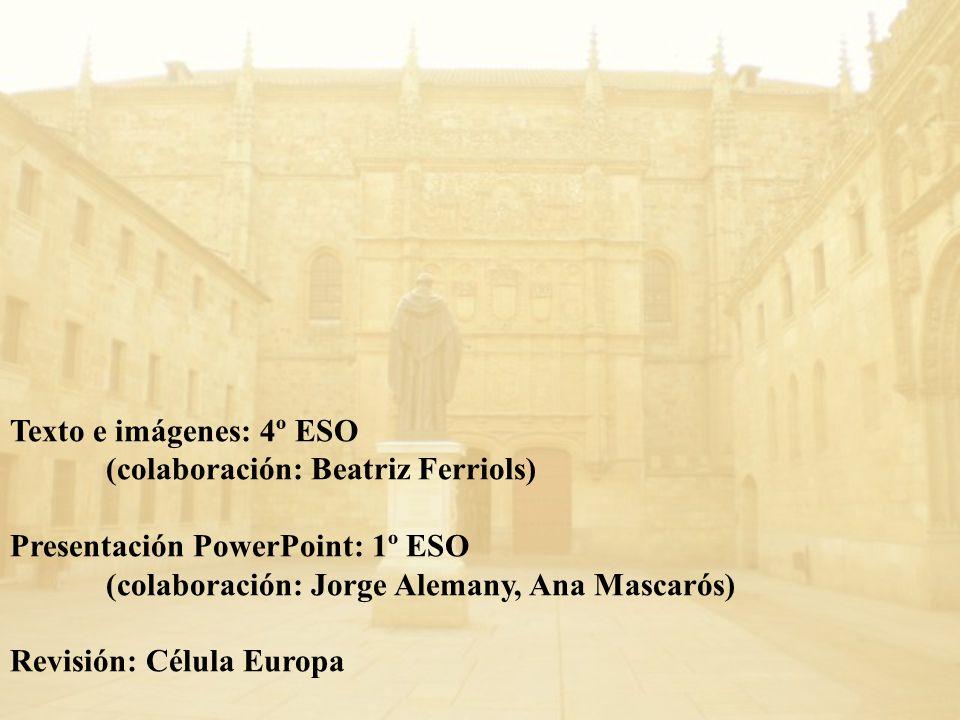 Texto e imágenes: 4º ESO (colaboración: Beatriz Ferriols) Presentación PowerPoint: 1º ESO. (colaboración: Jorge Alemany, Ana Mascarós)