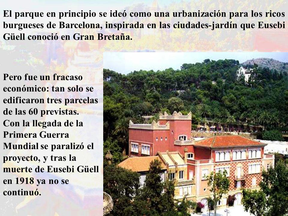 El parque en principio se ideó como una urbanización para los ricos burgueses de Barcelona, inspirada en las ciudades-jardín que Eusebi Güell conoció en Gran Bretaña.