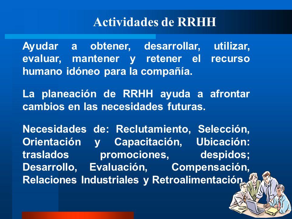 Actividades de RRHH Ayudar a obtener, desarrollar, utilizar, evaluar, mantener y retener el recurso humano idóneo para la compañía.